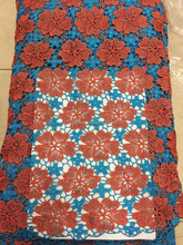 HOT SALE, HAVE STOCK!High quality nigerian Guipure Lace Fabric /African cord lace fabric/chemical lace/GPH81-2 ORANGE+BLUE