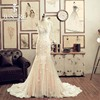 Elegant Sweetheart Neck Spaghetti Straps Lace Appliqued Mermaid Champagne Colored Wedding Dress Cathedra Train With Flowers 2016