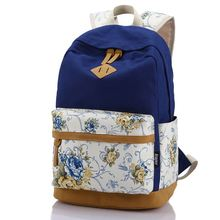 Genuine Quality Floral Leather Canvas Bag Backpack School for Teenager Girl Laptop Bag Printing Backpack Women Backpack