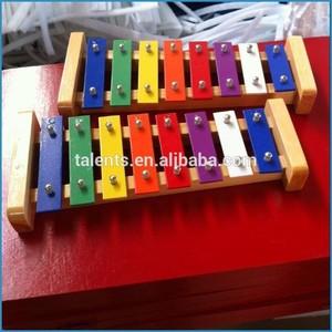 Carrinho de madeira e alumínio chave 8 tons xilofone/madeira glockenspiel/metalofone com corpo de madeira