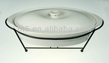 super white porcelain bakeware with lid and rack