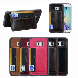 Card holder Hard mobile phone case cover for Samsung S6 edge