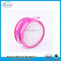 Round Shape PVC Zipper Bag, Plastic PVC Zipper Top Closure Round Shape Package Pouch with Cartoon Printing