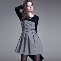2015 autumn fashion women clothing long sleeve outfit high-waist check ladies winter dress
