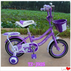 Purple Color Girl Bike With Rear Carrier, Basket Bicycle For Kids