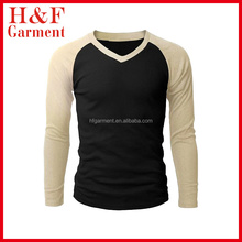 Custom Men's Long sleeves sports t-shirt quick dry black and beige