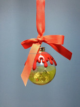 custom made promotional Crystal Acrylic Christmas ornament with wax top& Bow/Christmas tree ornament/advertisement hanging ball