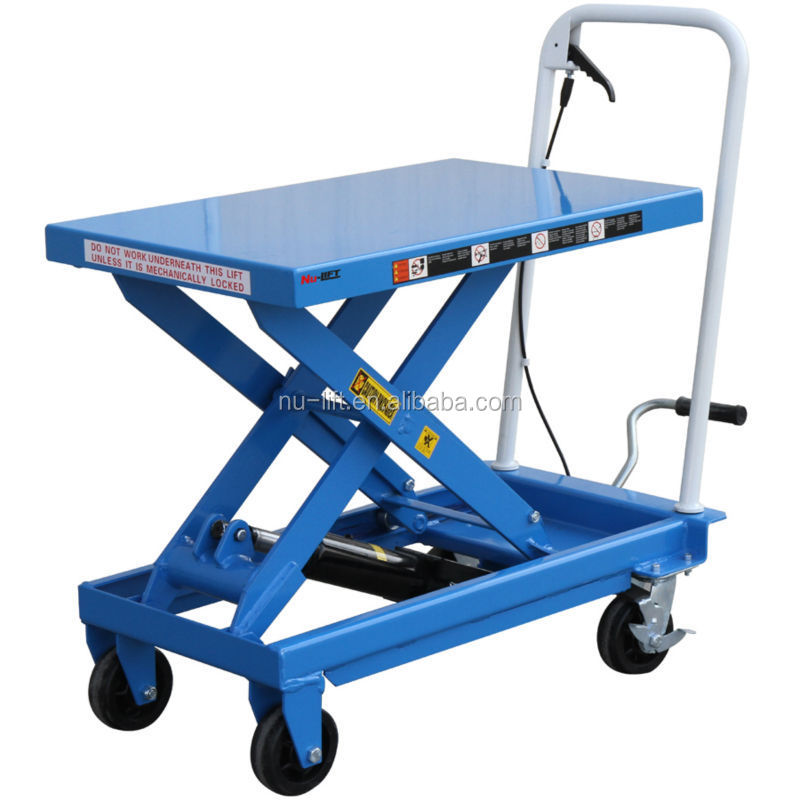 Mobile Hydraulic Lifts : Mobile manual hydraulic scissor lift table trolley buy