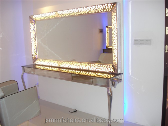 Stainless steel light up hair salon mirror equipment c336 for Beauty salon mirrors with lights