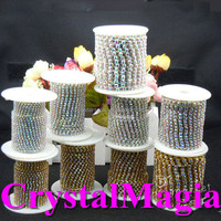 10yards 3mm grade A crystal rhinestone cup chain in roll