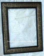 wood+metal/carved /painted photo frame