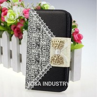 New Black Cute Flip Wallet Leather Case Cover for Samsung Galaxy S3 i9300 with unique design