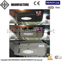 Car Leather Sun Visor 3in1 Paper Tissue Box CD DVD Holder Bag Pocket Glass Clip