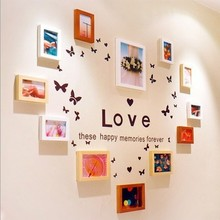 Innovative design Heart shaped wooden photo frames walls with wall stickers