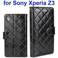 Factory directly Grid Texture PU Leather Wallet leather case for Sony Xperia Z3