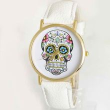 skull watch made in come leather watch display case fashion ladies genuine leather watch SY-35106