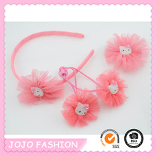 Wholesale Pink Hellokitty Hiar Elastic Hair Alligator Clip Korea Hair Accessories for Kids/
