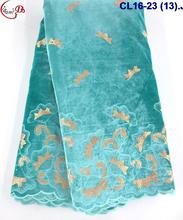CL16-23 (13)aqua sequins velvet with linen organza African velvet lace fabric
