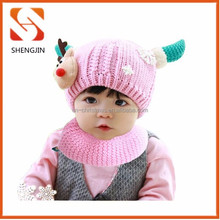 Factory sale lovely pink deer horn crochet hat Cheap knitted baby hat