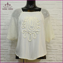 Hollow out White Summer new design Ladies Tops Latest design