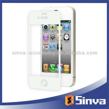 White color stickers tempered glass clear screen protector for iphone 5g