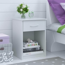 White Nightstand with Storage Drawer