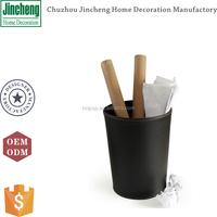 Decorative brown round leather waste paper bin, waste paper basket, trash can