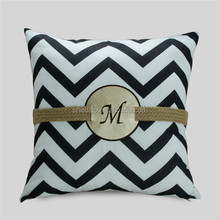 Hot cake settee decorative cushion wholesale,chevron printed braid with customize alphabet