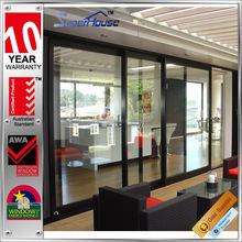 new design hurricane impact aluminium sliding stacking doors with grill
