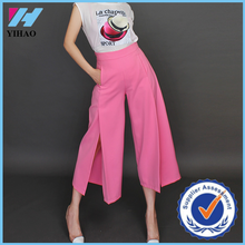 Yihao Womens Vintage High Waist side split Casual Wide Leg Pants Loose Capris Cropped Trousers