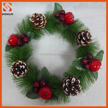 wholesale handmade christmas decorative artificial fruit garland plastic antificial green wreaths