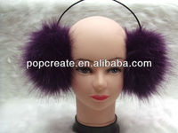2014 fashion purple fake fur earmuff