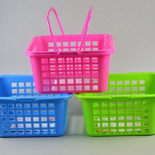Colorful square small plastic basket with handle