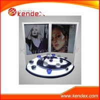 creative design clear acrylic cosmetic makeup beauty display stand with poster