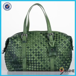 Famous brand design bag sheep leather woven travel bags