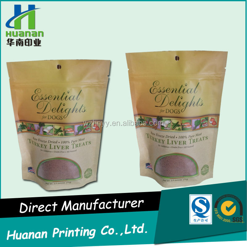 Plastic standing zipper bags for food package