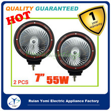 """4X4 55W 7"""" HID LED WORK LIGHT BAR Spotlights for car offroad 4X4 RED RING TRUCK 12V"""