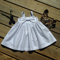 Girls boutique clothes party wear plain white baby frock designs
