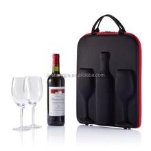 2015 custom designed leather wine glasses carrying case