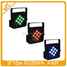 CE and RoHS High brightness DMX RGBWA 9*15W 5in1 LED battery par light stage light