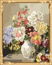hot photo flower in vase framed canvas oil painting with numbers for wholesales GX7578
