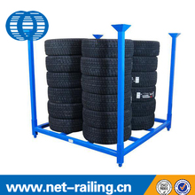 Industrial metal folded tire stacking rack