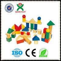 Guangzhou Manufacturer Wooden building block bricks construct toy for children on sale/ QX-185A
