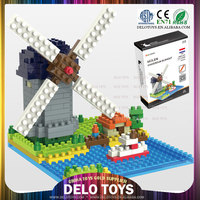 2014 new products on market cheap small plastic nano building blocks construction toys Holland windmill DE0260041