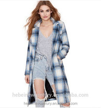 European Style Spring Autumn British Retro Loose Lapel Plaid Faux Wool Cardigan Maxi coat women's coat