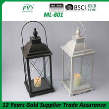 Best seller black and white Metal lantern antic finish table top lantern ML-801
