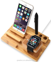 2015 Best selling wooden desktop for apple watch charging stand, stand Charger Holder for Iphone Ipad charging dock