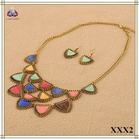 China Fashion Jewelry Sets Colorful Heart Shape Resin Pendant Necklace Earrings Sets