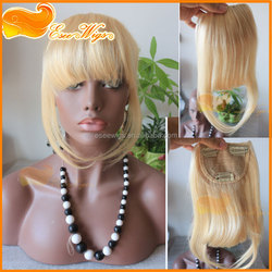 Free shipping 100% human hair peruvian remy hair bangs with clip blonde 613# color 6-8inch