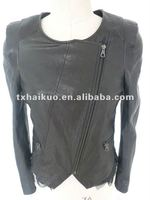 2012 newest ladies sheep leather jacket With a bud silk edge
